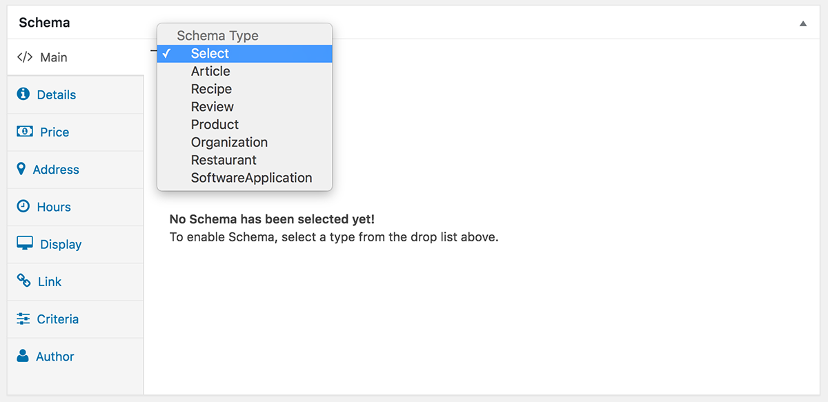 WPRichSnippets Schema.org Type Select Drop List