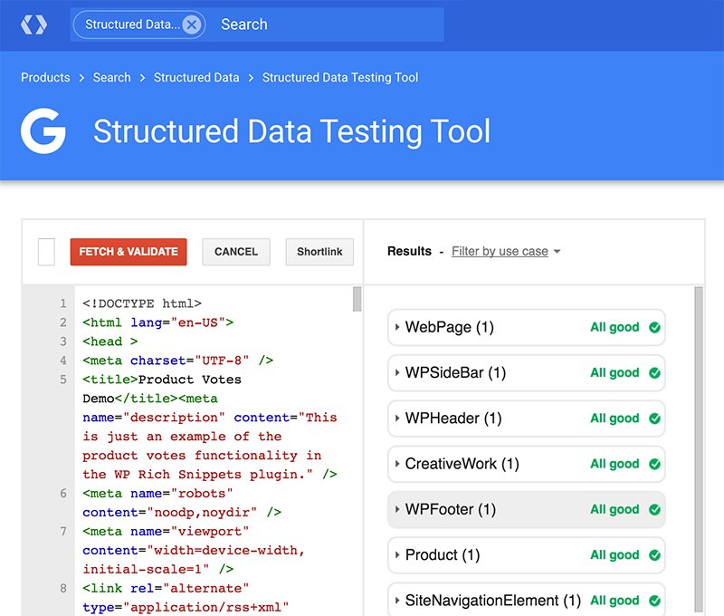 Structured Data Testing Tool Preview