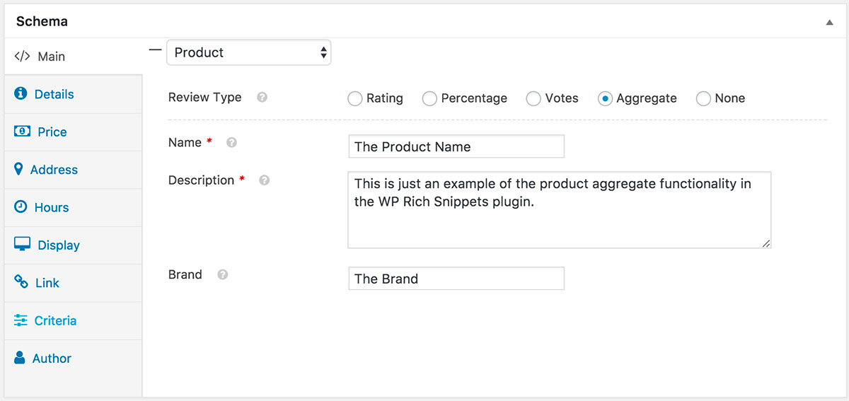 Schema Product Post Meta for User Aggregate Reviews